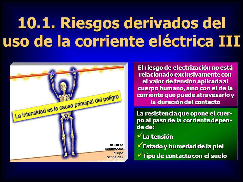 10.1. Riesgos derivados del uso de la corriente eléctrica III El riesgo de electrización no está relacionado exclusivamente con el valor de tensión ap