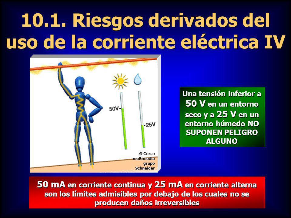 10.1. Riesgos derivados del uso de la corriente eléctrica IV 50 mA en corriente continua y 25 mA en corriente alterna son los límites admisibles por d