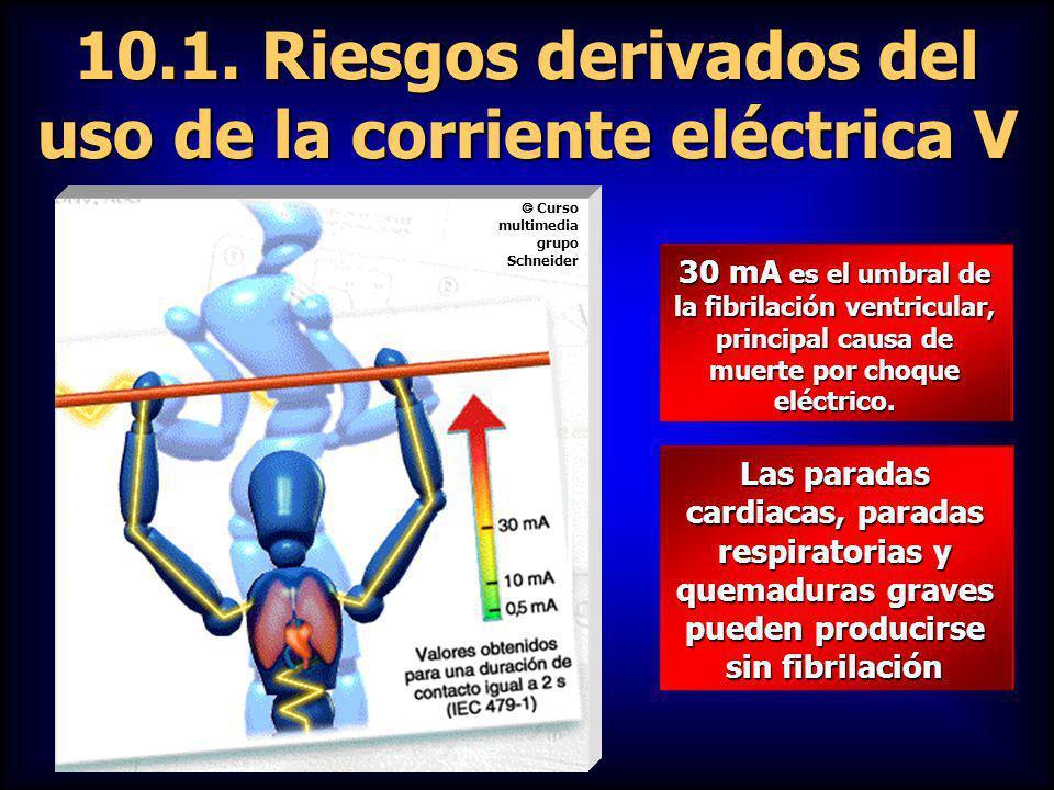 10.1. Riesgos derivados del uso de la corriente eléctrica V 30 mA es el umbral de la fibrilación ventricular, principal causa de muerte por choque elé