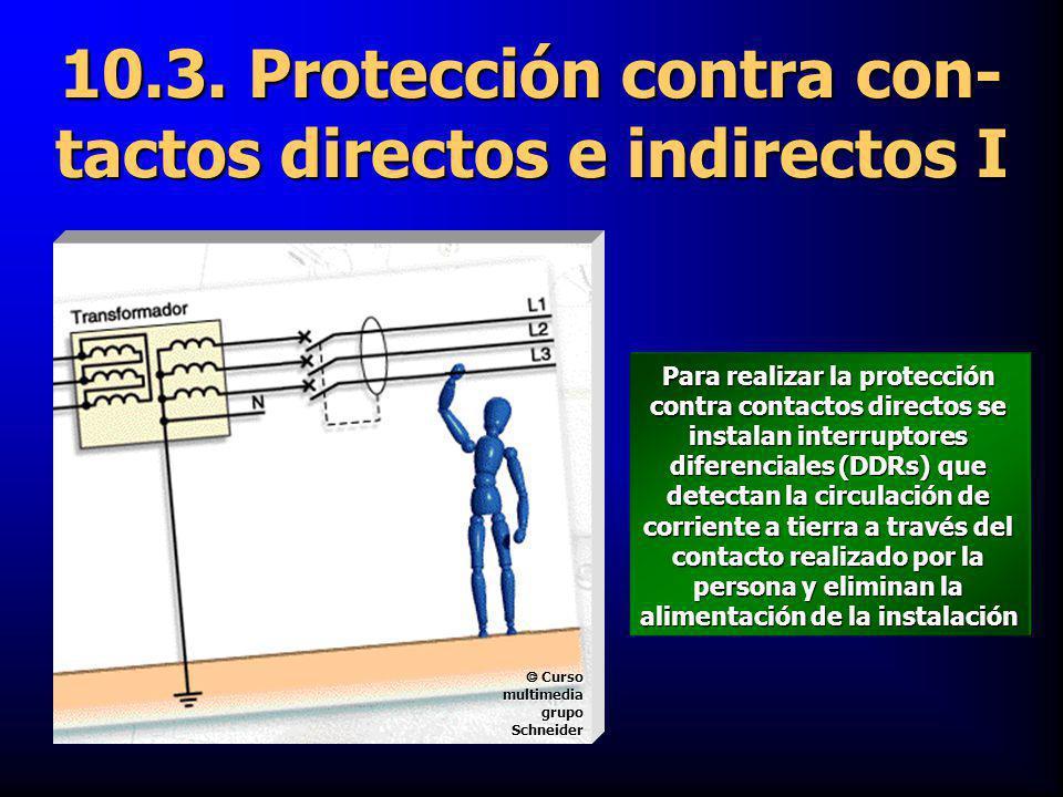 10.3. Protección contra con- tactos directos e indirectos I Para realizar la protección contra contactos directos se instalan interruptores diferencia