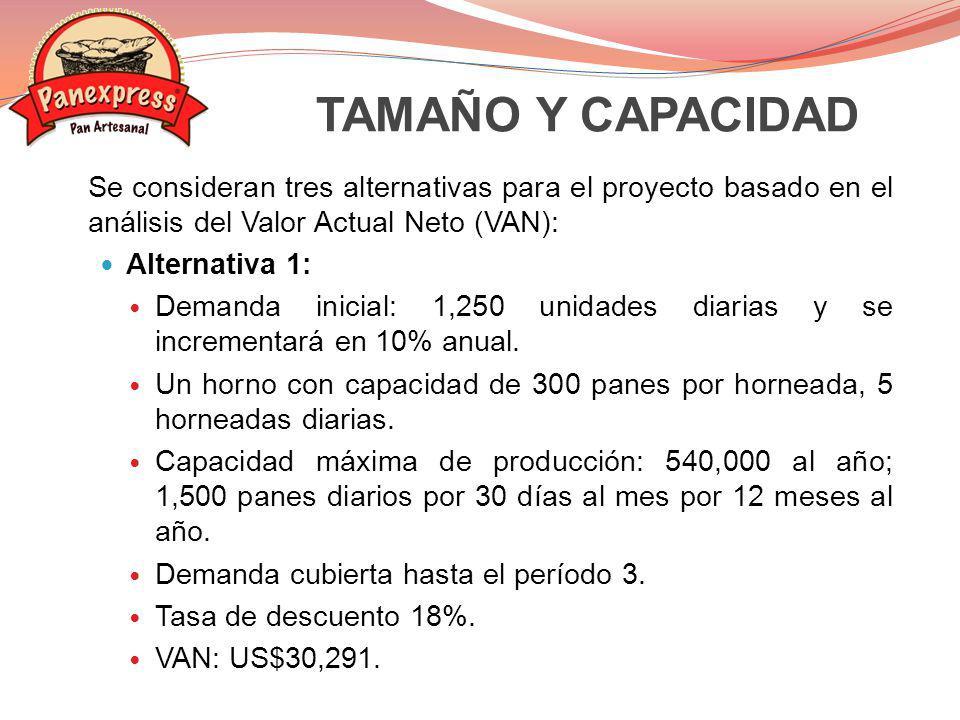 Alternativa 2: Demanda inicial: 1,250 unidades diarias y se incrementará en 10% anual.