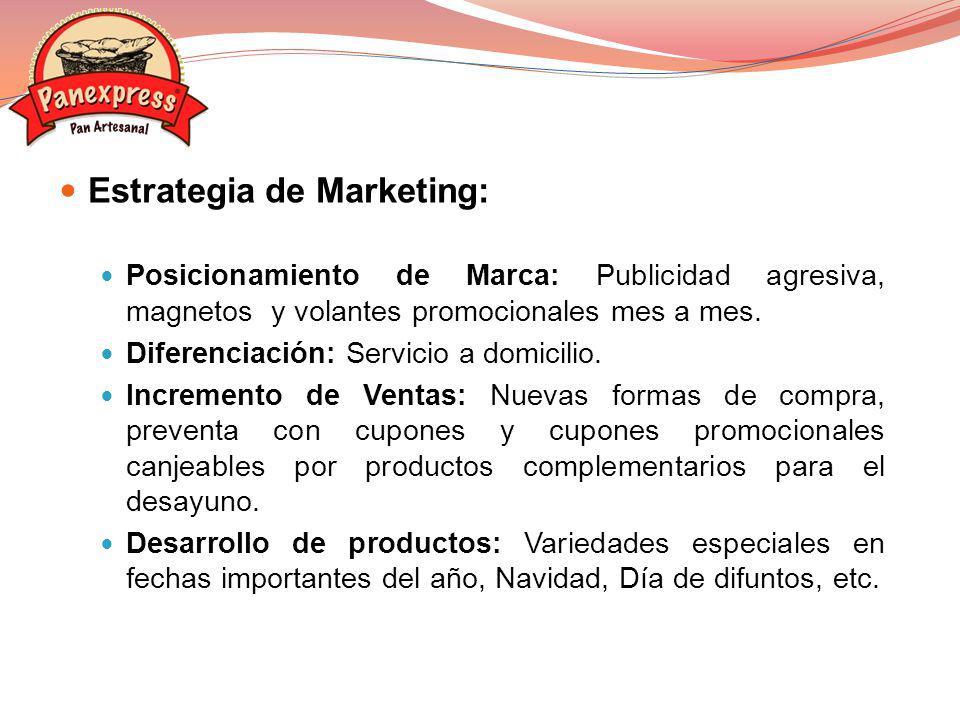 Estrategia de Marketing: Posicionamiento de Marca: Publicidad agresiva, magnetos y volantes promocionales mes a mes. Diferenciación: Servicio a domici