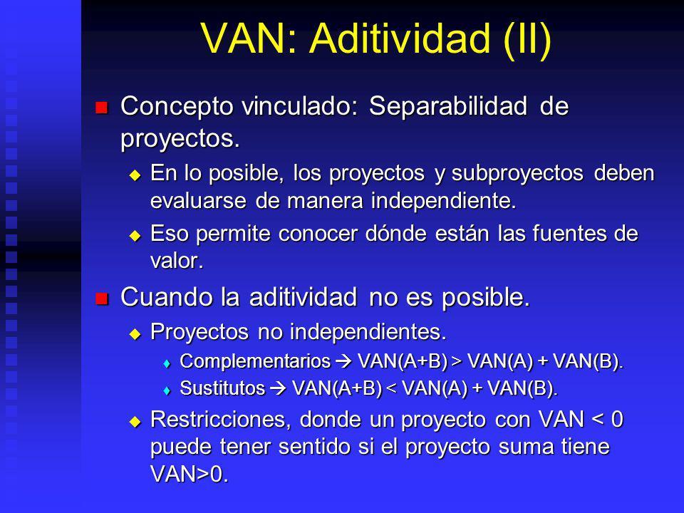 VAN: Aditividad VAN (A) + VAN (B) = VAN (A+B) VAN (A) + VAN (B) = VAN (A+B)