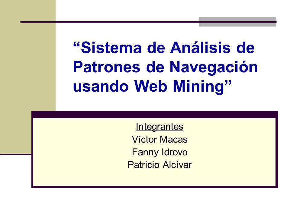 Sistema de Análisis de Patrones de Navegación usando Web Mining Integrantes Víctor Macas Fanny Idrovo Patricio Alcívar