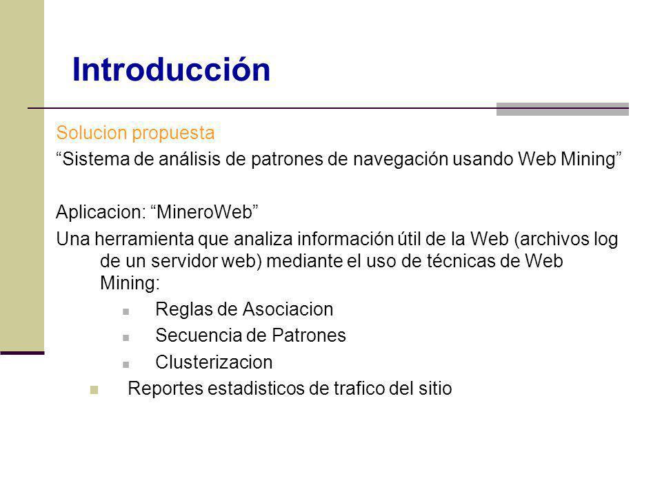 Solucion propuesta Sistema de análisis de patrones de navegación usando Web Mining Aplicacion: MineroWeb Una herramienta que analiza información útil