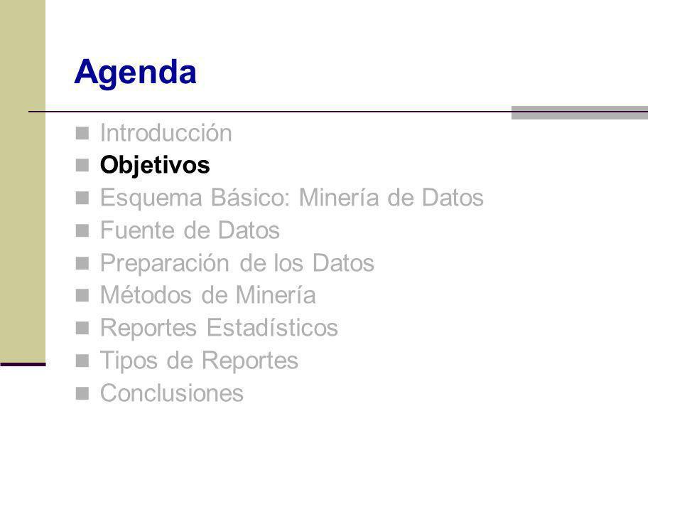Objetivos Esquema Básico: Minería de Datos Fuente de Datos Preparación de los Datos Métodos de Minería Reportes Estadísticos Tipos de Reportes Conclus