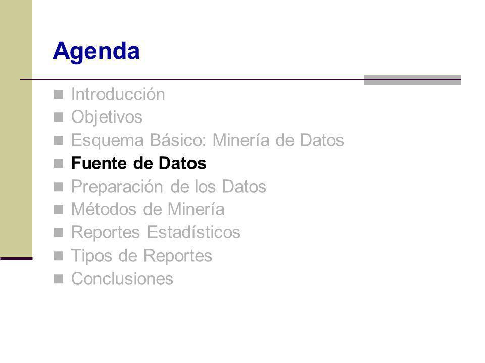 Introducción Objetivos Esquema Básico: Minería de Datos Fuente de Datos Preparación de los Datos Métodos de Minería Reportes Estadísticos Tipos de Rep
