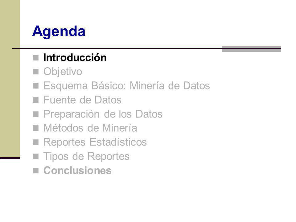 Introducción Objetivo Esquema Básico: Minería de Datos Fuente de Datos Preparación de los Datos Métodos de Minería Reportes Estadísticos Tipos de Repo