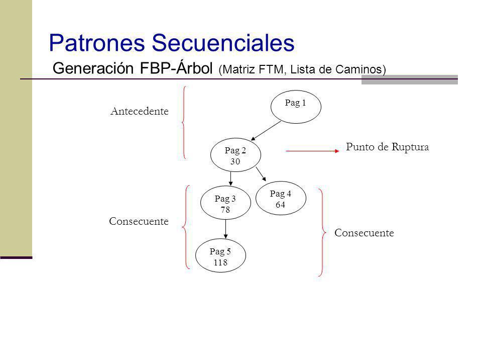 Patrones Secuenciales Generación FBP-Árbol (Matriz FTM, Lista de Caminos) Pag 2 30 Pag 1 Pag 3 78 Pag 4 64 Pag 5 118 Punto de Ruptura Antecedente Cons