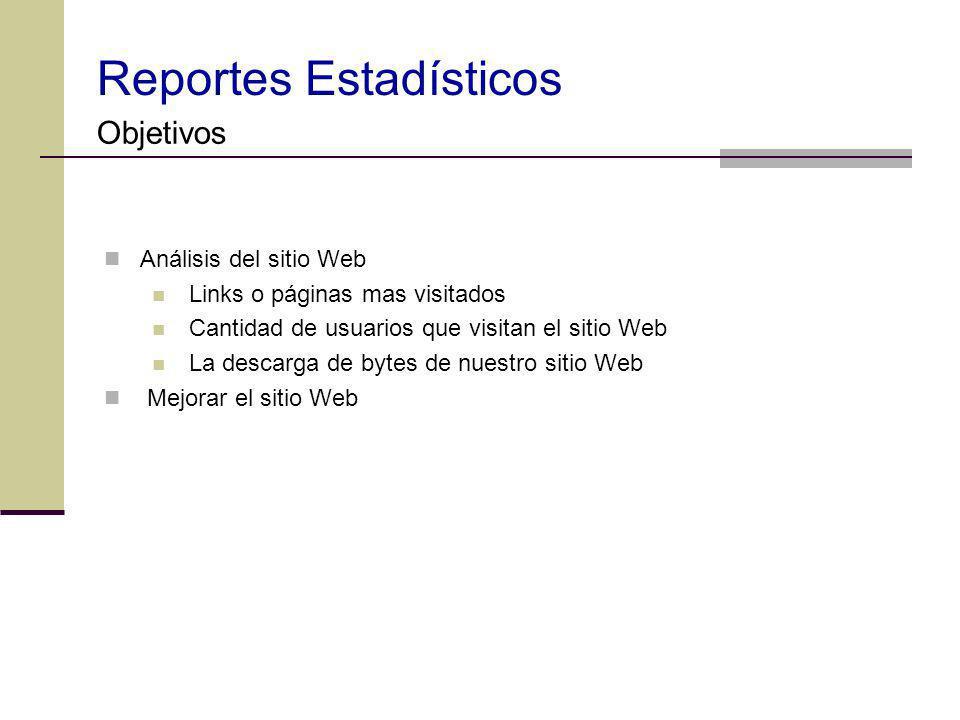 Reportes Estadísticos Objetivos Análisis del sitio Web Links o páginas mas visitados Cantidad de usuarios que visitan el sitio Web La descarga de byte