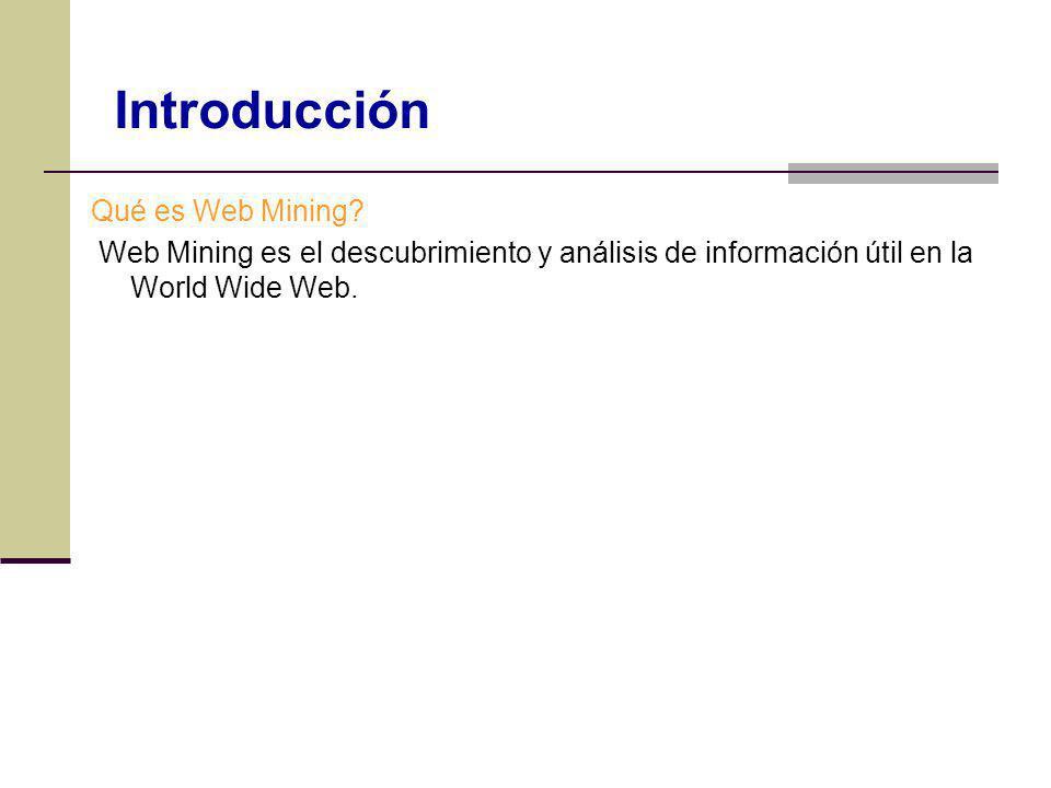 Qué es Web Mining? Web Mining es el descubrimiento y análisis de información útil en la World Wide Web. Introducción
