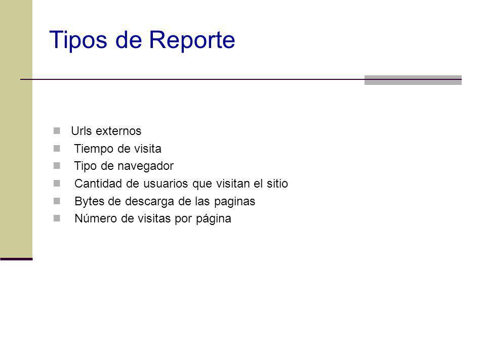 Tipos de Reporte Urls externos Tiempo de visita Tipo de navegador Cantidad de usuarios que visitan el sitio Bytes de descarga de las paginas Número de