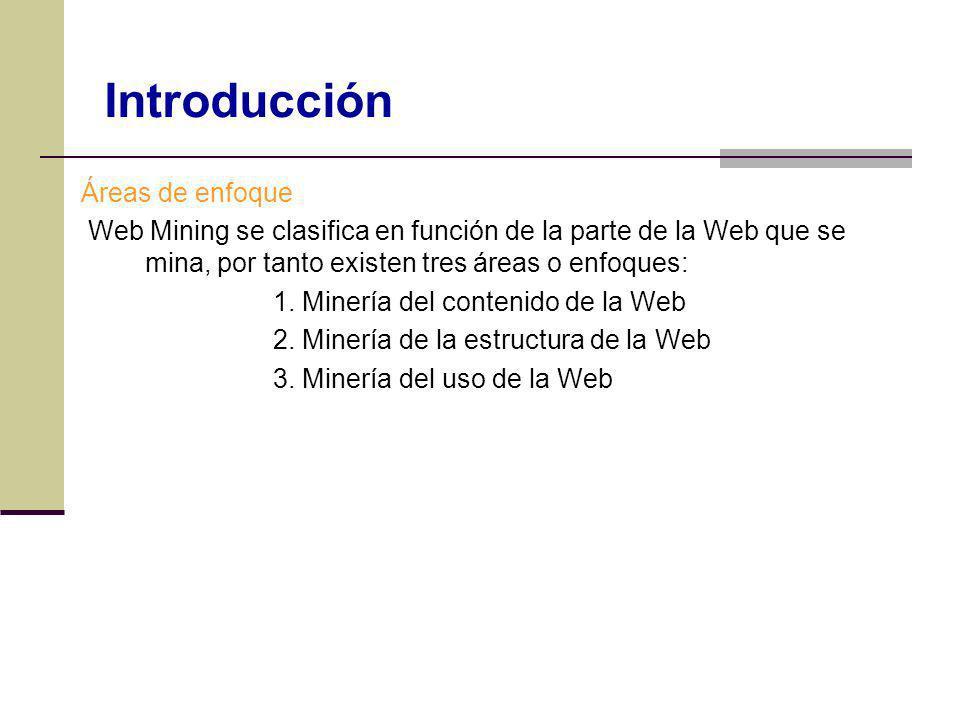 Áreas de enfoque Web Mining se clasifica en función de la parte de la Web que se mina, por tanto existen tres áreas o enfoques: 1. Minería del conteni
