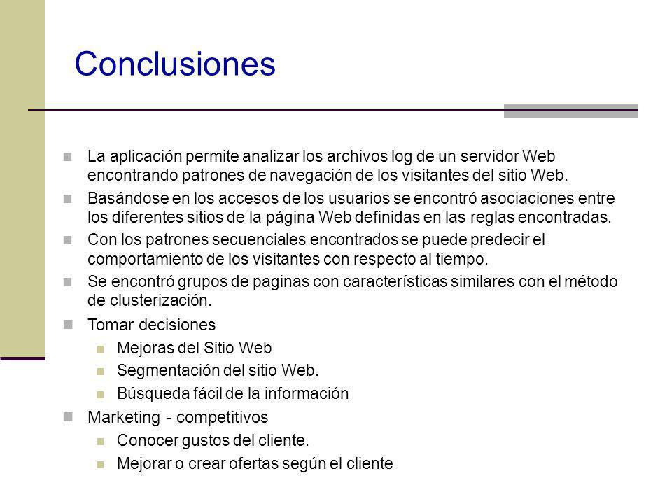 Conclusiones La aplicación permite analizar los archivos log de un servidor Web encontrando patrones de navegación de los visitantes del sitio Web. Ba