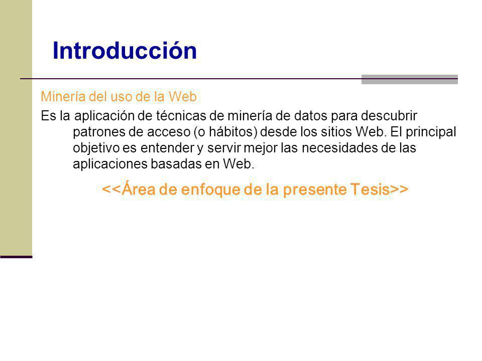 Minería del uso de la Web Es la aplicación de técnicas de minería de datos para descubrir patrones de acceso (o hábitos) desde los sitios Web. El prin