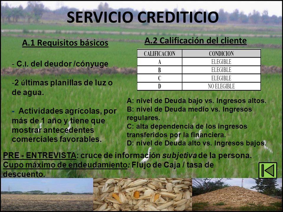 SERVICIO CREDITICIO A.2 Calificación del cliente A: nivel de Deuda bajo vs. Ingresos altos. B: nivel de Deuda medio vs. Ingresos regulares. C: alta de
