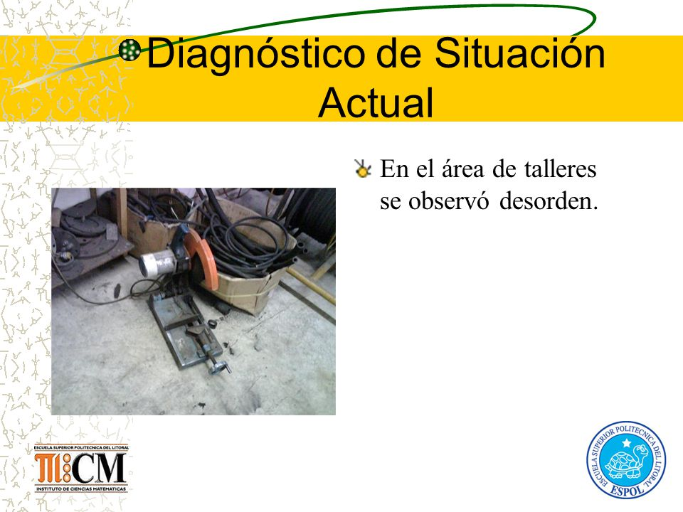 Diagnóstico de Situación Actual En el área de talleres se observó desorden.