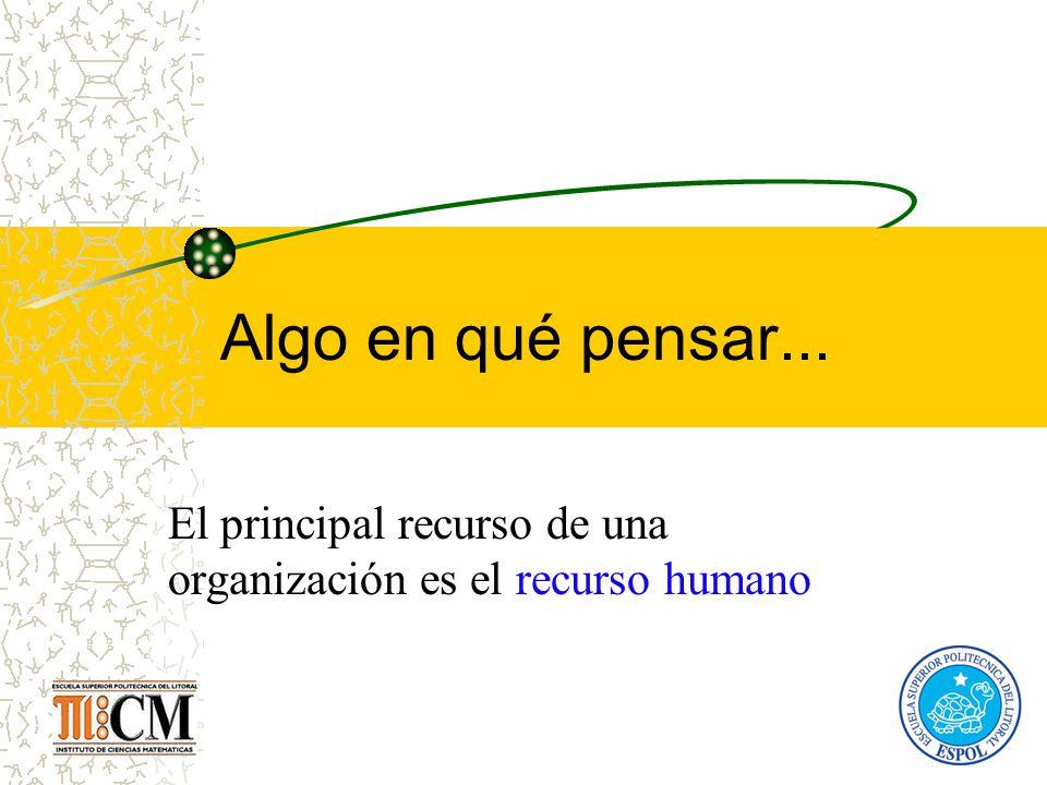 Algo en qué pensar... El principal recurso de una organización es el recurso humano