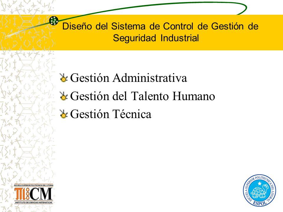 Diseño del Sistema de Control de Gestión de Seguridad Industrial Gestión Administrativa Gestión del Talento Humano Gestión Técnica