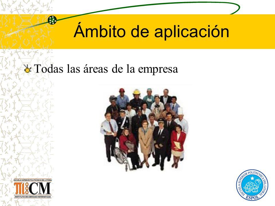 Ámbito de aplicación Todas las áreas de la empresa