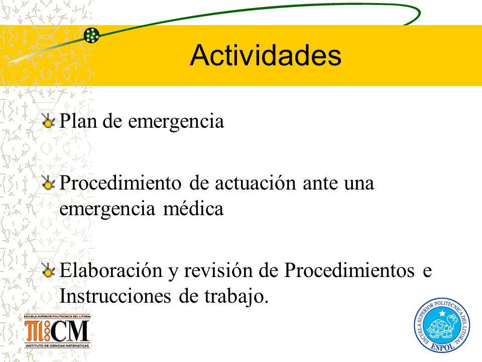 Actividades Plan de emergencia Procedimiento de actuación ante una emergencia médica Elaboración y revisión de Procedimientos e Instrucciones de traba