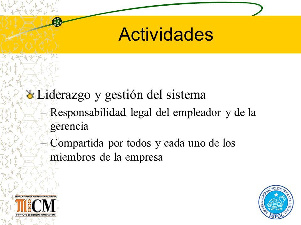 Actividades Liderazgo y gestión del sistema –Responsabilidad legal del empleador y de la gerencia –Compartida por todos y cada uno de los miembros de