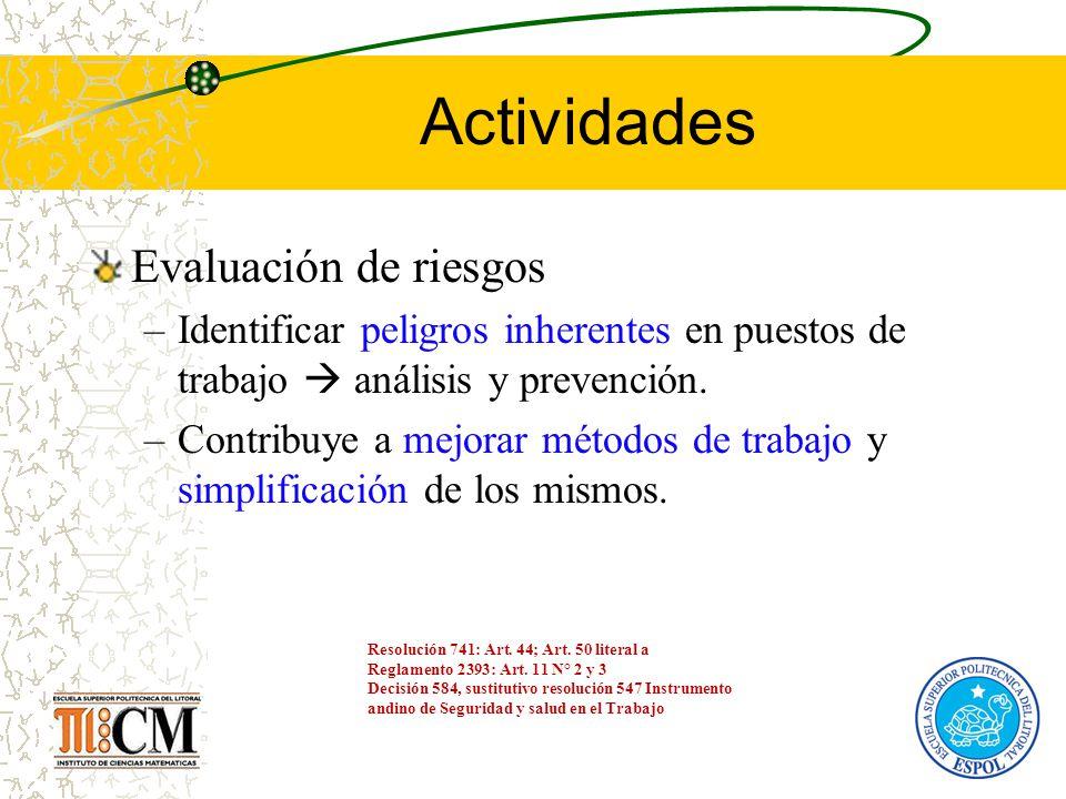 Actividades Evaluación de riesgos –Identificar peligros inherentes en puestos de trabajo análisis y prevención. –Contribuye a mejorar métodos de traba