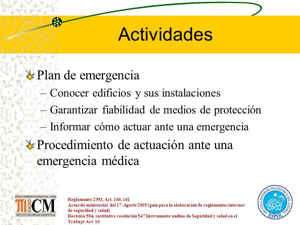 Actividades Plan de emergencia –Conocer edificios y sus instalaciones –Garantizar fiabilidad de medios de protección –Informar cómo actuar ante una em