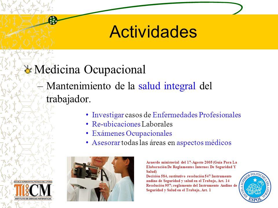 Actividades Medicina Ocupacional –Mantenimiento de la salud integral del trabajador. Acuerdo ministerial del 17-Agosto 2005 (Guía Para La Elaboración