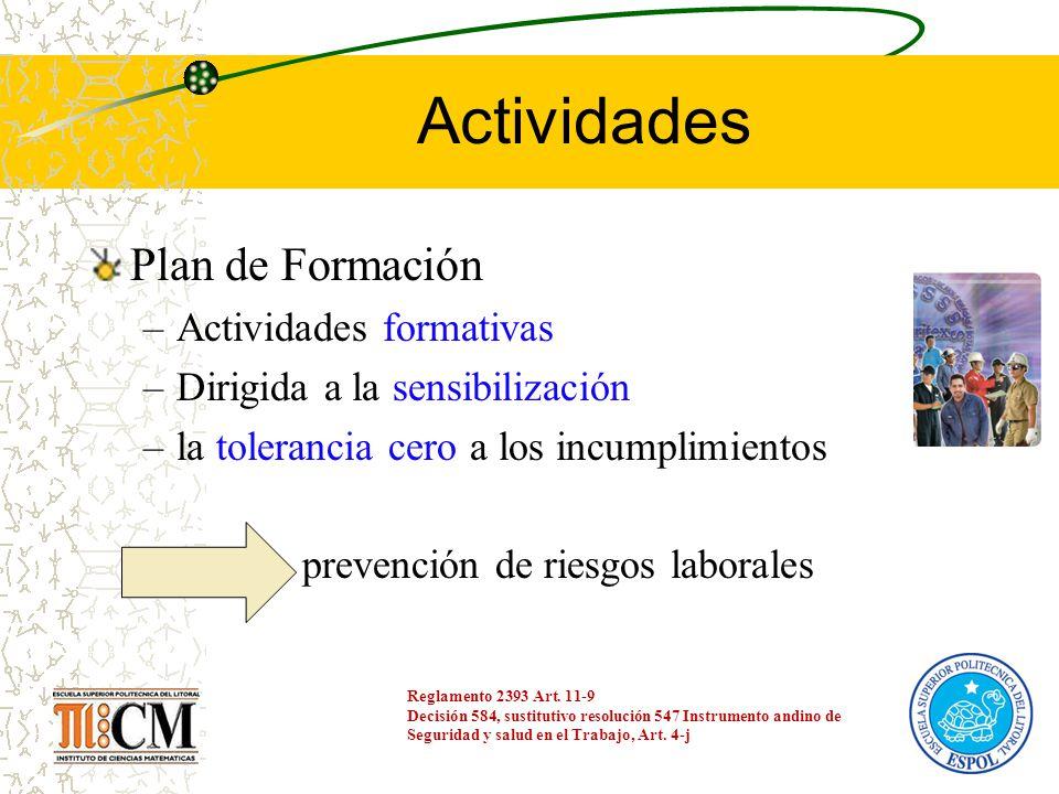 Actividades Plan de Formación –Actividades formativas –Dirigida a la sensibilización –la tolerancia cero a los incumplimientos prevención de riesgos l