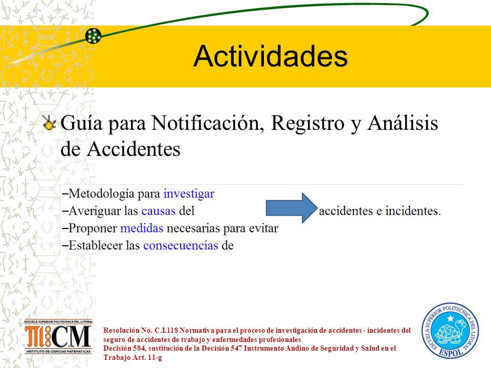 Actividades Guía para Notificación, Registro y Análisis de Accidentes Resolución No. C.I.118 Normativa para el proceso de investigación de accidentes