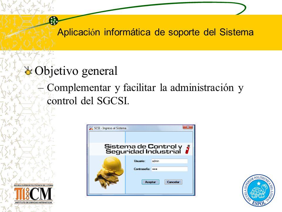 Aplicaci ó n informática de soporte del Sistema Objetivo general –Complementar y facilitar la administración y control del SGCSI.
