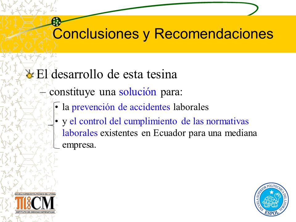 Conclusiones y Recomendaciones El desarrollo de esta tesina –constituye una solución para: la prevención de accidentes laborales y el control del cump