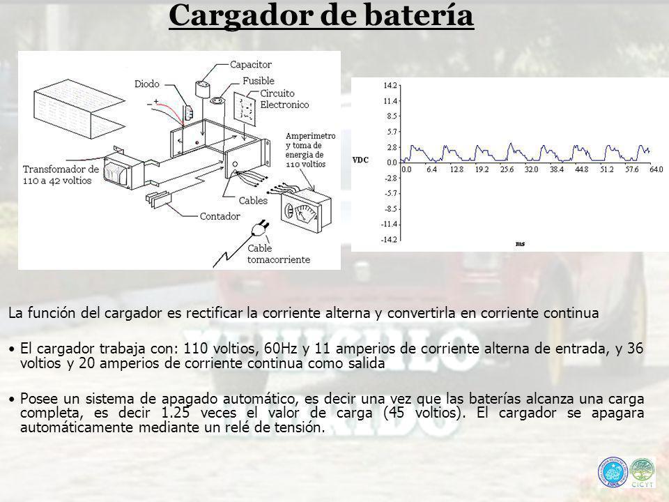 Cargador de batería La función del cargador es rectificar la corriente alterna y convertirla en corriente continua El cargador trabaja con: 110 voltio