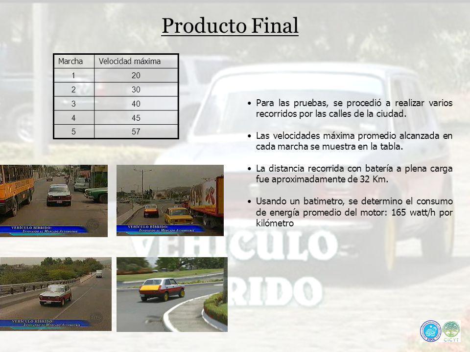 Producto Final MarchaVelocidad máxima 120 230 340 445 557 Para las pruebas, se procedió a realizar varios recorridos por las calles de la ciudad. Las