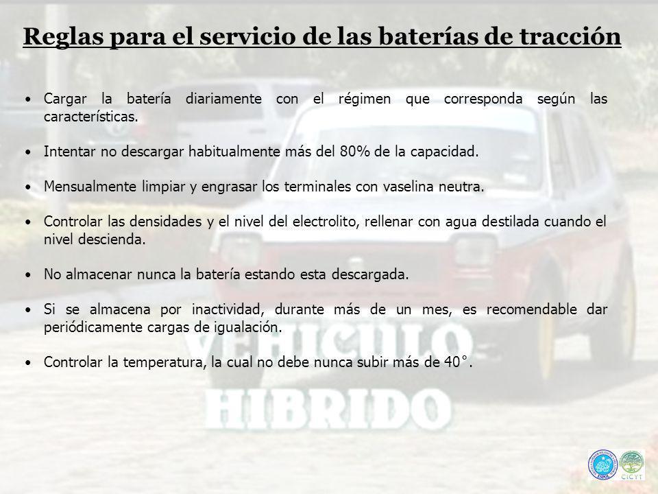 Reglas para el servicio de las baterías de tracción Cargar la batería diariamente con el régimen que corresponda según las características. Intentar n