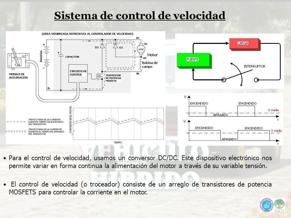 Para el control de velocidad, usamos un conversor DC/DC. Este dispositivo electrónico nos permite variar en forma continua la alimentación del motor a