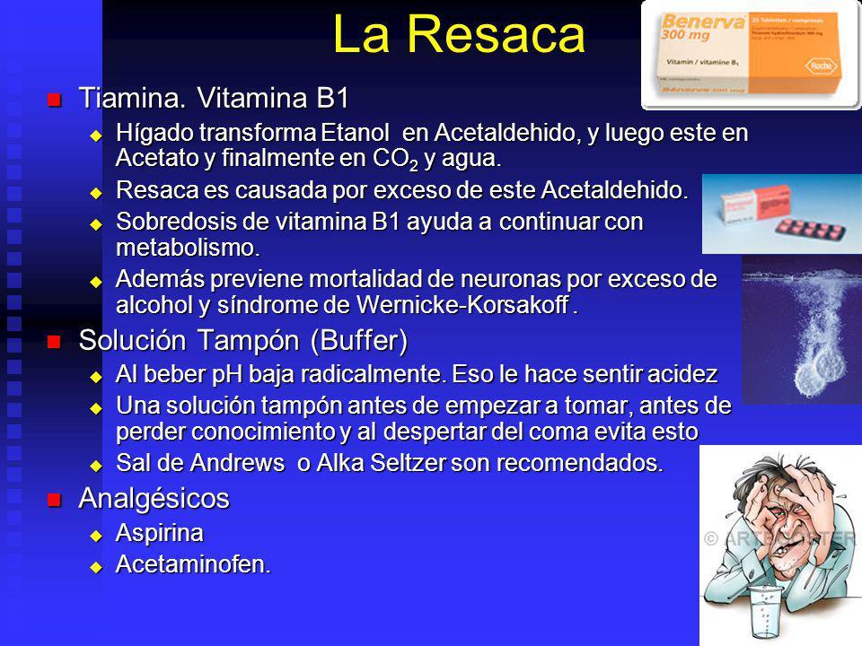 La Resaca Tiamina. Vitamina B1 Tiamina. Vitamina B1 Hígado transforma Etanol en Acetaldehido, y luego este en Acetato y finalmente en CO 2 y agua. Híg
