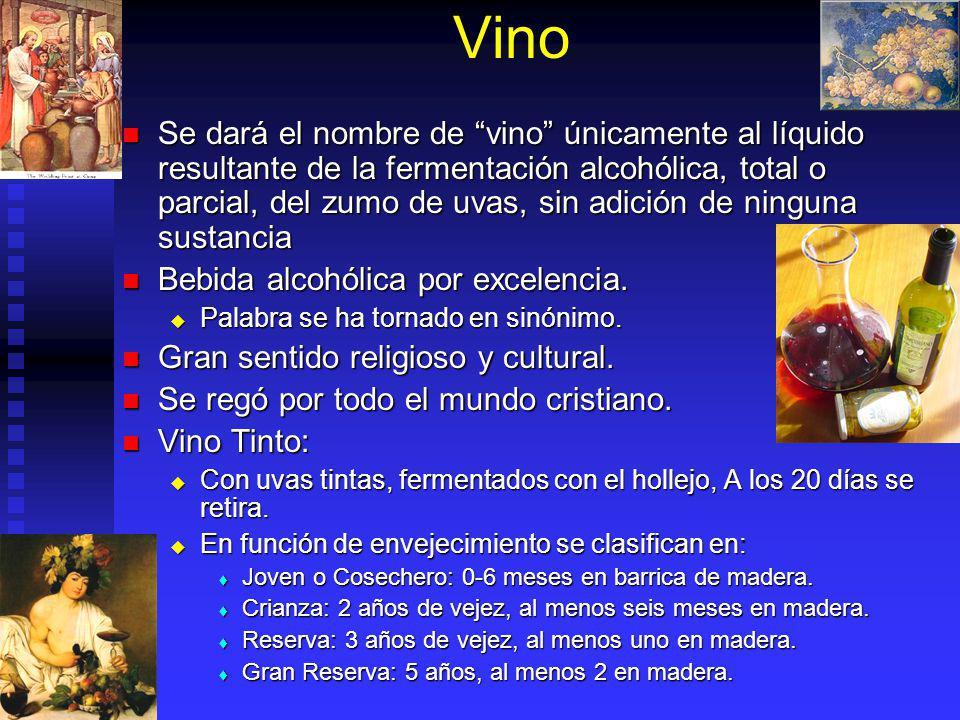 Vino Se dará el nombre de vino únicamente al líquido resultante de la fermentación alcohólica, total o parcial, del zumo de uvas, sin adición de ningu