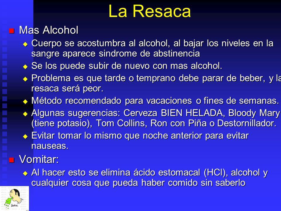 La Resaca Mas Alcohol Mas Alcohol Cuerpo se acostumbra al alcohol, al bajar los niveles en la sangre aparece sindrome de abstinencia Cuerpo se acostum