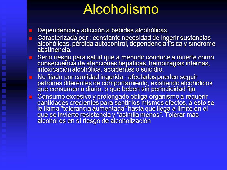 Alcoholismo Dependencia y adicción a bebidas alcohólicas. Dependencia y adicción a bebidas alcohólicas. Caracterizada por : constante necesidad de ing
