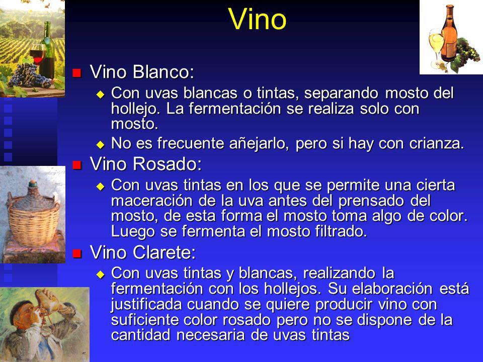 Vino Vino Blanco: Vino Blanco: Con uvas blancas o tintas, separando mosto del hollejo. La fermentación se realiza solo con mosto. Con uvas blancas o t