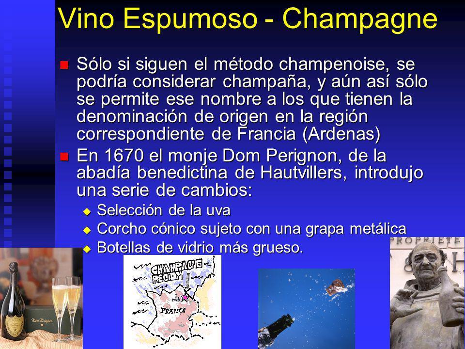 Vino Espumoso - Champagne Sólo si siguen el método champenoise, se podría considerar champaña, y aún así sólo se permite ese nombre a los que tienen l