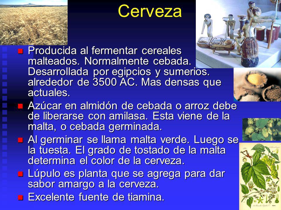 Cerveza Producida al fermentar cereales malteados. Normalmente cebada. Desarrollada por egipcios y sumerios. alrededor de 3500 AC. Mas densas que actu