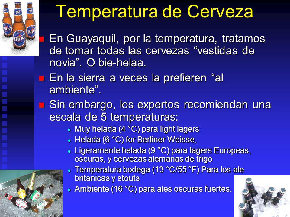 Temperatura de Cerveza En Guayaquil, por la temperatura, tratamos de tomar todas las cervezas vestidas de novia. O bie-helaa. En Guayaquil, por la tem