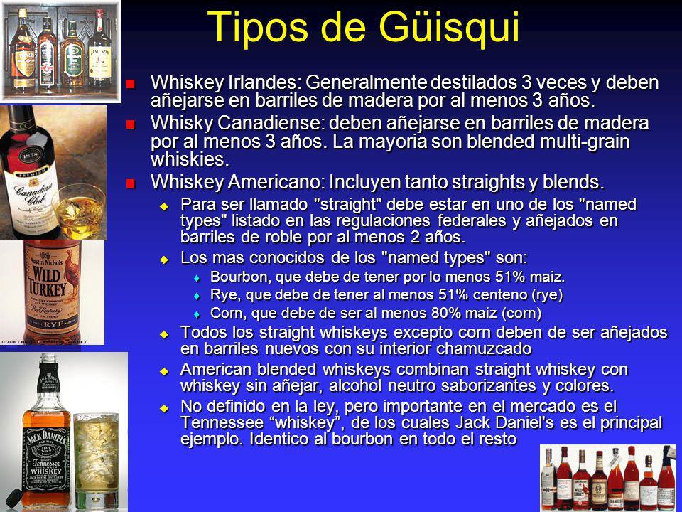 Tipos de Güisqui Whiskey Irlandes: Generalmente destilados 3 veces y deben añejarse en barriles de madera por al menos 3 años. Whiskey Irlandes: Gener