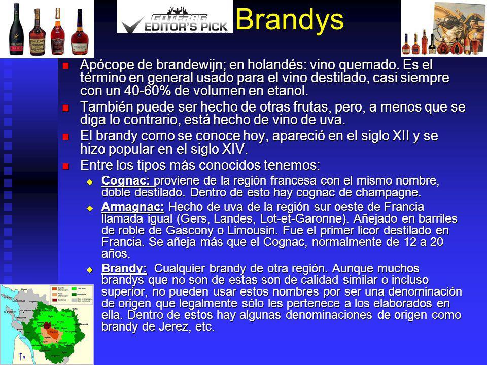 Brandys Apócope de brandewijn; en holandés: vino quemado. Es el término en general usado para el vino destilado, casi siempre con un 40-60% de volumen
