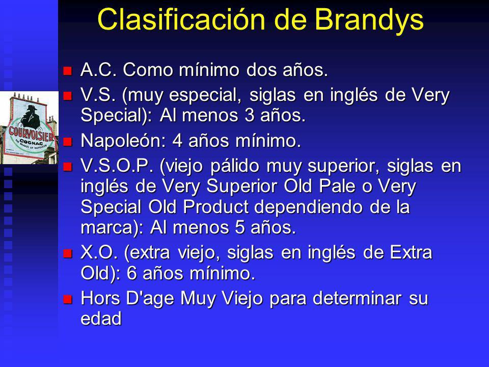 Clasificación de Brandys A.C. Como mínimo dos años. A.C. Como mínimo dos años. V.S. (muy especial, siglas en inglés de Very Special): Al menos 3 años.