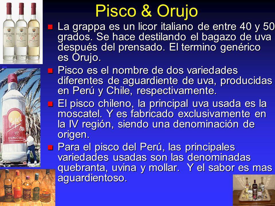 Pisco & Orujo La grappa es un licor italiano de entre 40 y 50 grados. Se hace destilando el bagazo de uva después del prensado. El termino genérico es