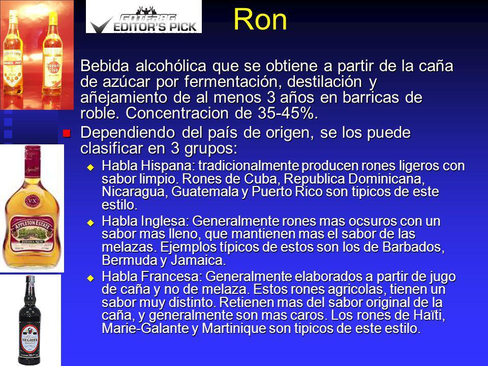 Ron Bebida alcohólica que se obtiene a partir de la caña de azúcar por fermentación, destilación y añejamiento de al menos 3 años en barricas de roble